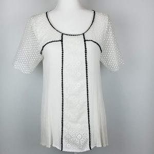 Sundance Tunic Top White Crochet Cut Out M